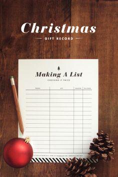 Making A List: Christmas Gift Record Printable