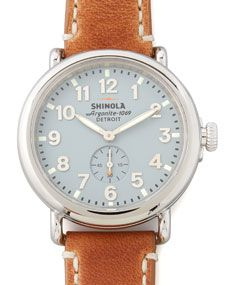 Shinola runwell men's watch in light blue with leather band