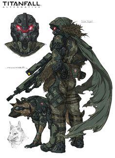 Titan fall arternative Recon and a Guard Dog – Cyberpunk Gallery Armor Concept, Concept Art, Character Concept, Character Art, Mode Cyberpunk, Arte Robot, Robot Art, Futuristic Armour, Sci Fi Armor