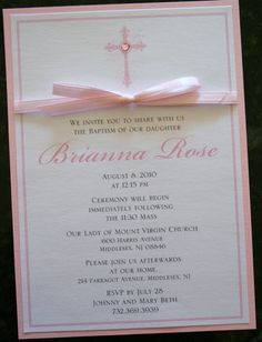 Girl Baptism-Communion Invitation with Bow