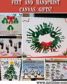 Kids christmas crafts handprint and footprint arts for Homemade gifts from toddlers to grandparents