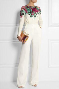 C'est parfait, blanche et la fleurs > Elie Saab | Floral-print stretch-crepe jumpsuit #2014