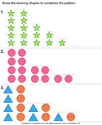 Draw the Shape that Goes Next in each Pattern Worksheet Pattern Worksheet, Pattern Grading, Fun Worksheets For Kids, Math Worksheets, 4th Grade Math, Kindergarten Math, Grade 2, Math Patterns, Future Classroom