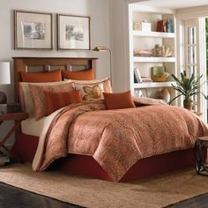 Turn your bedroom into a relaxing retreat with the warm and cozy Tommy Bahama Prince of Paisley Comforter Set. The beautiful bedding features a handsome woven block paisley print on an ombre backdrop in shades of terra-cotta and sand.