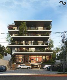 Sampit Apartment on Behance Concept Models Architecture, Hotel Architecture, Architecture Design, Facade Design, Exterior Design, Architect House, Cottage Design, Facade House, Building Design