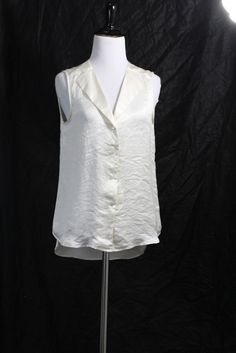 Theory Women's Cream Sleeveless 100% Polyester Blouse S #Theory #Blouse #Casual