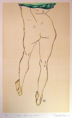 egon schiele, amazing, this guy painted with watercolor and glue!