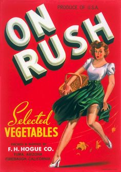 Shop Retro Vintage Kitsch Pin Up On Rush Fruit Crate Square Sticker created by seemonkee. Posters Vintage, Vintage Advertising Posters, Vintage Advertisements, Vintage Packaging, Vintage Labels, Vintage Ads, Vintage Rock, Vegetable Crates, Vegetable Garden