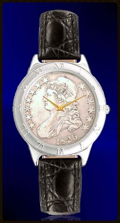 Capped Bust Half Dollar Mens Strap Coin Watch R111-CB2-0. Dial made from a genuine US silver half dollar over 175 years old!