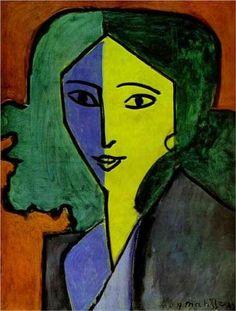 Portrait of L.N. Delekorskaya     Artist: Henri Matisse  Completion Date: 1947  Style: Expressionism  Genre: portrait  Technique: oil  Material: canvas  Gallery: Hermitage, St. Petersburg, Russia
