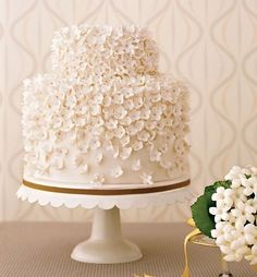 Simple yet elegant wedding cake.