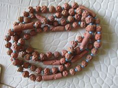 "Antique 36"" Native American RED CLAY Bead NECKLACE Turquoise Color Glass Bead Spacers Hand Re-Strung Primitive Collectible Museum Quality by GrammiesCupboard on Etsy"