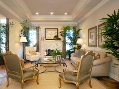 The tray ceiling in the living room adds architectural interest opens up the space while the furniture creates a cozy area for conversation.