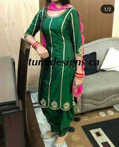 Embroidery Suits Punjabi, Embroidery Suits Design, Designer Punjabi Suits, Indian Designer Outfits, Dress Neck Designs, Blouse Designs, Suit Fashion, Women's Fashion Dresses, Women Salwar Suit