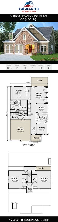Plan details an open concept Bungalow house plan with stories, his and her closets in the master, ceilings, and a 2 car garage. Open Living Area, Bungalow House Plans, Best House Plans, First Home, Open Concept, Car Garage, Ceilings, Square Feet, Space Saving