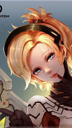 Overwatch, Mercy, Blonde, Wings, Bodysuit, Short Hair