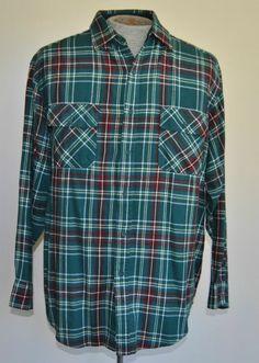 Men's Size L Coleman Green Plaid Flannel Shirt 100% Acrylic Long Sleeve
