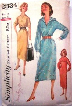 Simplicity 2334 Womens Hooded Dress 1950s Vintage Pattern on Etsy, $12.99