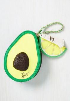 Do you take this bright green Betsey Johnson bag as your most cherished accessory? Yeah you do! Providing plenty of 'super food' for thought with its avocado shape, reflective salt shaker and lime adornments, and a fresh recipe, this clutch marries your quirky taste to your inner 'guac' star.