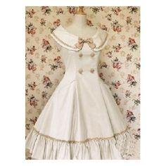 Big double cotton classic Lolita dress white school pin tuck sleeveless bow