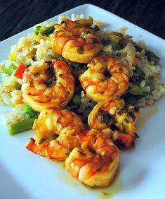 Drunken Shrimp with Veggie Fried Rice #glutenfree