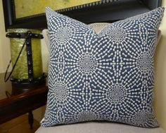 SKU 11080 – Bluebell - Premium Quality Throw Pillow Cover    *Handmade in USA    *The front fabric of this intricate geometric decorative