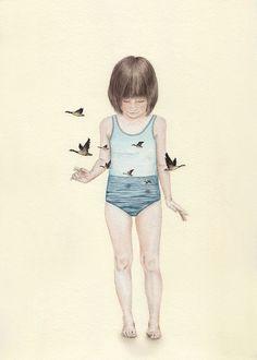 Tahel Maor  Oeuvres fascinantes et mystérieuses ont souvent pour sujet le monde de l'enfance, la désillusion ou encore la naïveté.  Ses aquarelles surréalistes se présentent donc comme des métaphores, et questionnent la perte de l'innocence vers la maturité. Des visuels poétiques et forts à la fois, qui témoignent de la difficulté de grandir et se transformer.
