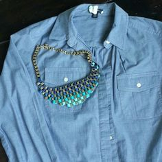 PRICE DROP! Blue ombre bib statement necklace Great for spring! Blue ombre ( material is grosgrain ribbon) necklace. Good heavy weight. In good, pre loves condition as seen on one piece of ribbon that's twisted a little. love couture  Jewelry Necklaces