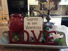 Happy Valentines in Italian! Love this board in my kitchen. Change phrases or menu constantly.