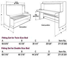 """Hafele """"Hiddenbed"""" Hardware Mechanism for Foldaway Bed with Desk   KitchenSource.com"""