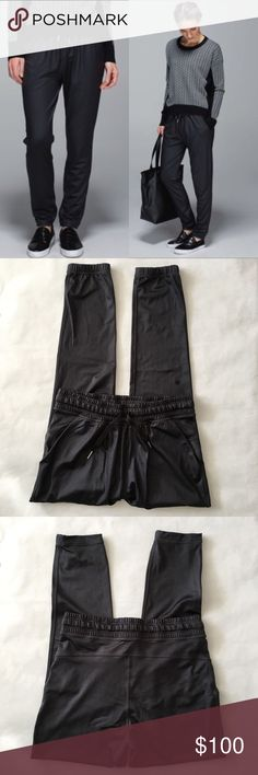 """🍋 Lululemon Namaskar Pant Loose fit, medium rise. Elastic waist band and elastic cuffs; waist tie front. 28"""" inseam. Have a shiny sheen to them. Worn only a couple of times - no stains, pulls, holes or pilling anywhere. Rip tag still attached. Last photo shows cool polka dot mesh detailing at the side pockets. Bundle & save 💰! Sorry - 🚫 trades! lululemon athletica Pants"""