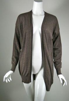 SCHUMACHER Brown Open Front Cardigan Sweater Size Medium #Schumacher #Cardigan