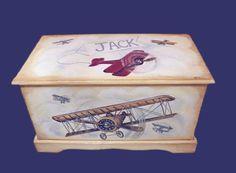 Toy box Vintage Airplane Nursery, Vintage Airplanes, Aviation Nursery, Aviation Theme, Wooden Toy Boxes, Wooden Toys, Boy Room, Kids Room, Airplane Toys