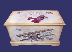 Vintage Airplane Toy Chest Custom Designed, Kids Room Decor, Personalized, Art…