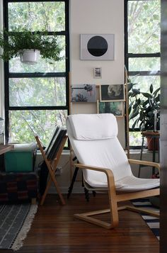 Debbie & Devin's Modern Slow Living -- House Tour - Love it ! Living Room Chairs, Living Room Decor, Living Spaces, Small Living, Ikea Poang Chair, Ikea Chairs, Slow Living, Architecture, Decoration
