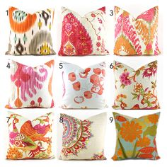 Pillow Covers ANY SIZE You Choose Decorative Pillow Cover Pink Pillow Orange Pillows Ikat Pillow Chevron Pillow by MyPillowStudio on Etsy https://www.etsy.com/listing/215421641/pillow-covers-any-size-you-choose