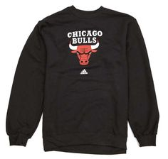 Chicago Bulls Logo Mens Black Crew Neck Sweatshirt