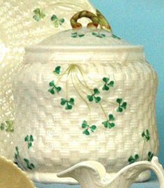Belleek Porcelain; Irish, Biscuit Jar & Cover, Shamrock Pattern, 5th Mark.1955 - 1965