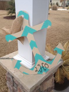 20 Shabby Chic Anchor Door Hanger Custom Order by TheCoralAnchor