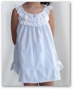 Cute and comfy Frocks For Girls, Kids Frocks, Frock Design, Fashion Kids, Little Girl Dresses, Girls Dresses, Cotton Nighties, Sewing Kids Clothes, Night Gown Dress