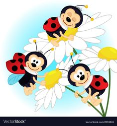 Illustration about Ladybug on camomile - vector illustration. Illustration of leaves, camomile, green - 39169165 Free Vector Images, Vector Art, Illustration Vector, Rock Crafts, Diy And Crafts, Baby Clip Art, Animals And Pets, Embroidery Patterns, Decoupage
