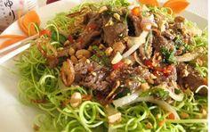 Vietnamese Water Spinach (KangKong) Salad with Beef - Gỏi Rau Muống Thịt Vietnamese Cuisine, Vietnamese Recipes, Asian Recipes, Goi Recipe, Water Spinach, Diet Recipes, Cooking Recipes, Asian Kitchen, Food Design