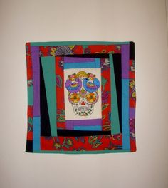Sugar Skull Pillow Cover  Colorful Hand Embroidery by KarenHeenan, $45.00 SOLD