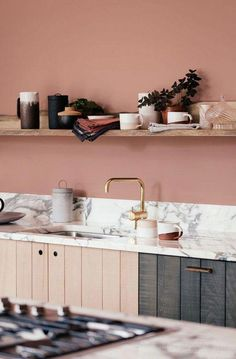 Luxury Kitchen devol kitchens does it again. - i've love britain's devol kitchens — beautifully designed, dramatic and always unique. this time devol's designed something that's spot-on gorgeous: pale peachy pink walls paired with marble counterto Pink Kitchen Walls, Pastel Kitchen, Kitchen Cabinet Colors, Living Room Kitchen, Kitchen Colors, New Kitchen, Kitchen Ideas, Pink Walls, Kitchen Paint