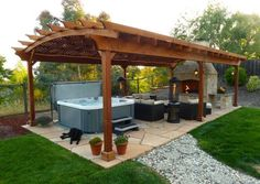 Outdoor. Unique Backyard Hot Tub Ideas. Fascinating Lounge Outdoor Gazebo Ideas Natural Granite Floor Come With Fiberglass Hot Hub And Wooden Framework