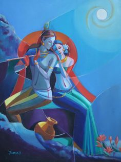 radha and krishna romancing in full moon night Lord Krishna Wallpapers, Radha Krishna Wallpaper, Lord Krishna Images, Radha Krishna Pictures, Krishna Painting, Krishna Art, Radhe Krishna, Indian Folk Art, Indian Art Paintings