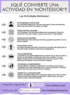 """Qué convierte una actividad en """"Montessori""""? (infografía) – What makes an activity """"Montessori""""? (infographic):"""
