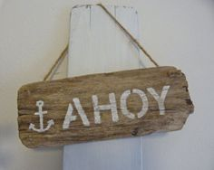AHOY sailor driftwood stencilled sign rustic by beachcomberhome, $18.00