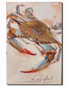 Original Art, Crab Painting, Oil on Canvas, Blue, Green, Orange, Tan, Modern Art #Impressionist