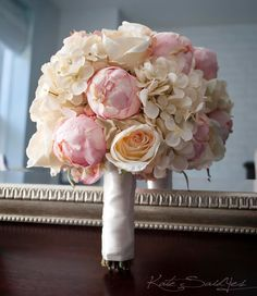 Peony and hydangea hand tied bouquet.